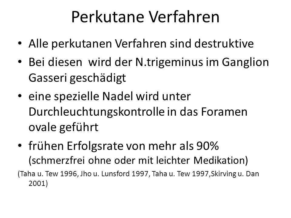 Perkutane Verfahren Alle perkutanen Verfahren sind destruktive Bei diesen wird der N.trigeminus im Ganglion Gasseri geschädigt eine spezielle Nadel wi