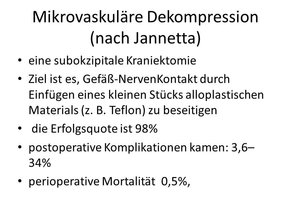 Mikrovaskuläre Dekompression (nach Jannetta) eine subokzipitale Kraniektomie Ziel ist es, Gefäß-NervenKontakt durch Einfügen eines kleinen Stücks allo