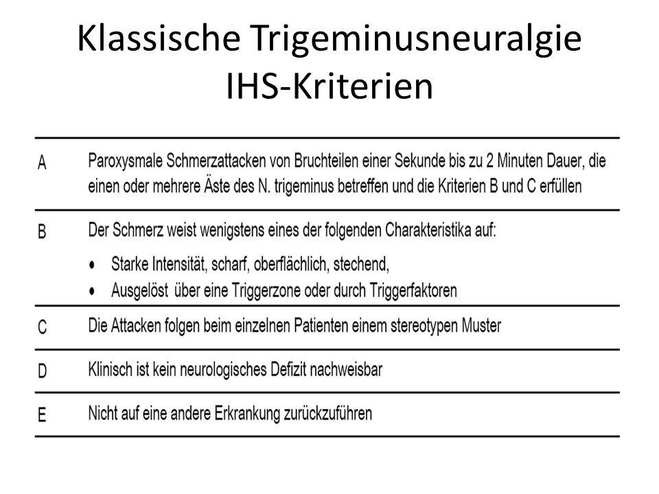 Klassische Trigeminusneuralgie IHS-Kriterien