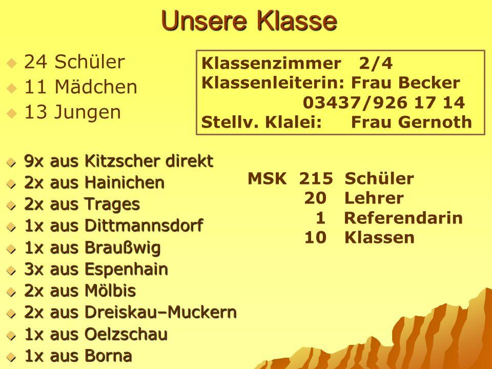 Unsere Klasse 24 Schüler 11 Mädchen 13 Jungen 9x aus Kitzscher direkt 9x aus Kitzscher direkt 2x aus Hainichen 2x aus Hainichen 2x aus Trages 2x aus T