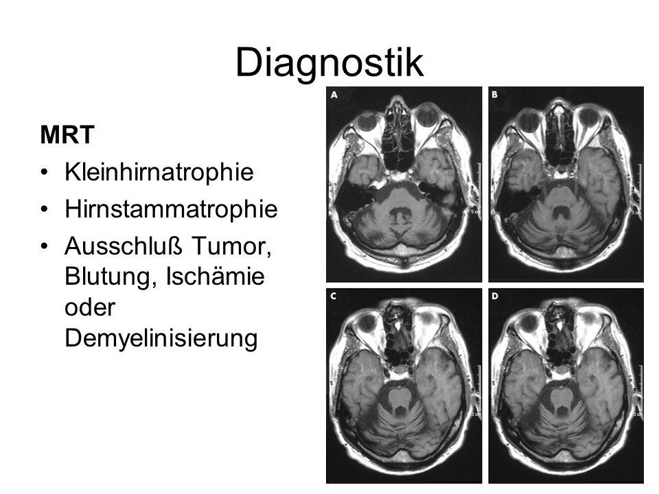 Diagnostik MRT Kleinhirnatrophie Hirnstammatrophie Ausschluß Tumor, Blutung, Ischämie oder Demyelinisierung