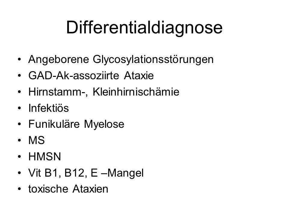 Differentialdiagnose Angeborene Glycosylationsstörungen GAD-Ak-assoziirte Ataxie Hirnstamm-, Kleinhirnischämie Infektiös Funikuläre Myelose MS HMSN Vit B1, B12, E –Mangel toxische Ataxien