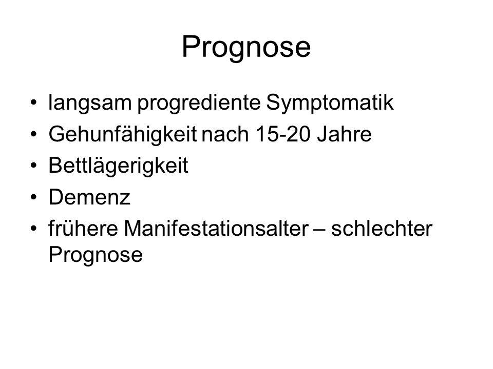 Prognose langsam progrediente Symptomatik Gehunfähigkeit nach 15-20 Jahre Bettlägerigkeit Demenz frühere Manifestationsalter – schlechter Prognose
