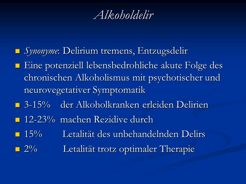 Alkoholdelir Synonyme: Delirium tremens, Entzugsdelir Synonyme: Delirium tremens, Entzugsdelir Eine potenziell lebensbedrohliche akute Folge des chronischen Alkoholismus mit psychotischer und neurovegetativer Symptomatik Eine potenziell lebensbedrohliche akute Folge des chronischen Alkoholismus mit psychotischer und neurovegetativer Symptomatik 3-15% der Alkoholkranken erleiden Delirien 3-15% der Alkoholkranken erleiden Delirien 12-23% machen Rezidive durch 12-23% machen Rezidive durch 15% Letalität des unbehandelnden Delirs 15% Letalität des unbehandelnden Delirs 2% Letalität trotz optimaler Therapie 2% Letalität trotz optimaler Therapie