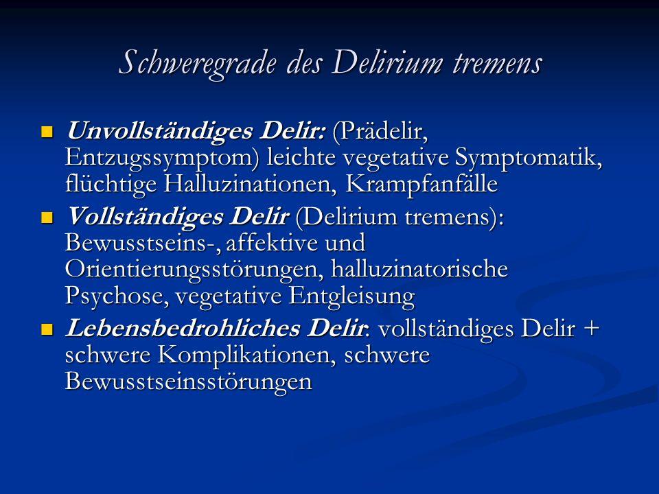 Schweregrade des Delirium tremens Unvollständiges Delir: (Prädelir, Entzugssymptom) leichte vegetative Symptomatik, flüchtige Halluzinationen, Krampfanfälle Unvollständiges Delir: (Prädelir, Entzugssymptom) leichte vegetative Symptomatik, flüchtige Halluzinationen, Krampfanfälle Vollständiges Delir (Delirium tremens): Bewusstseins-, affektive und Orientierungsstörungen, halluzinatorische Psychose, vegetative Entgleisung Vollständiges Delir (Delirium tremens): Bewusstseins-, affektive und Orientierungsstörungen, halluzinatorische Psychose, vegetative Entgleisung Lebensbedrohliches Delir: vollständiges Delir + schwere Komplikationen, schwere Bewusstseinsstörungen Lebensbedrohliches Delir: vollständiges Delir + schwere Komplikationen, schwere Bewusstseinsstörungen