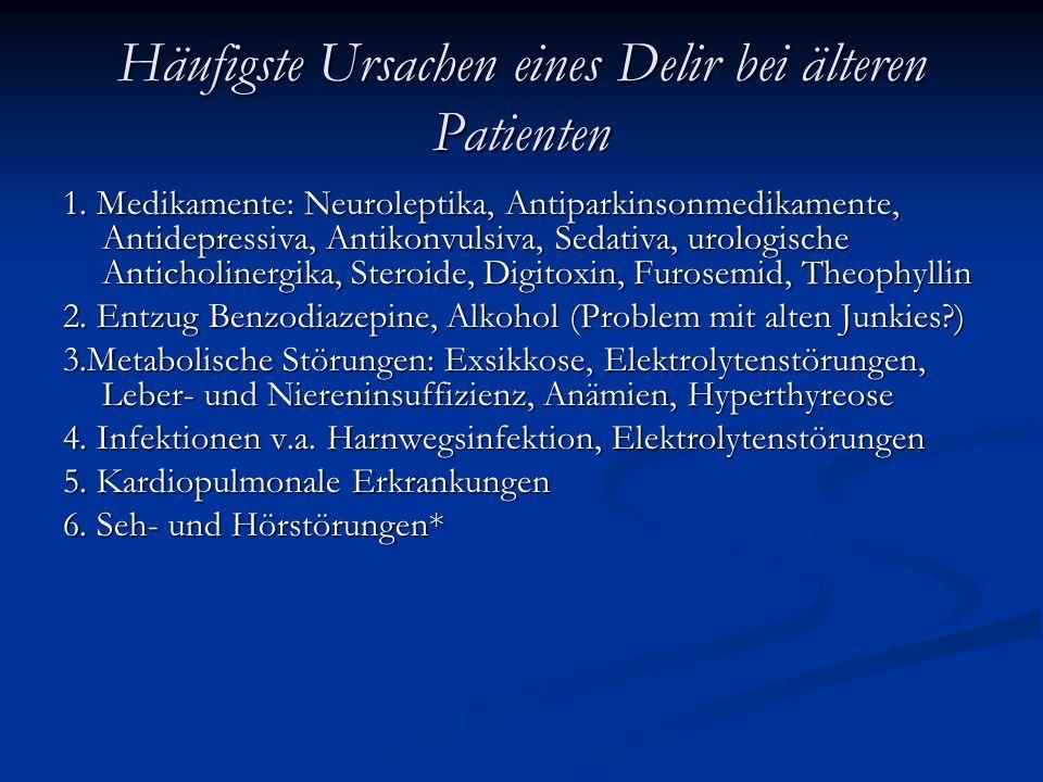 Häufigste Ursachen eines Delir bei älteren Patienten 1.