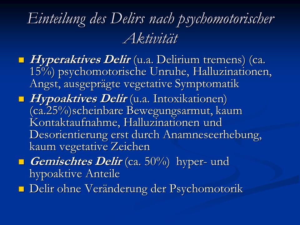 Ursachen des Delirs Neurologische / neurochirurgische Erkrankungen (Blutungen, Tumore, SHT, Epilepsie, Meningitis, Enzephalitis, Migräne, Schlafentzug) Neurologische / neurochirurgische Erkrankungen (Blutungen, Tumore, SHT, Epilepsie, Meningitis, Enzephalitis, Migräne, Schlafentzug) Postoperativ Postoperativ Infektionserkrankungen, fieberhafte Erkrankungen Infektionserkrankungen, fieberhafte Erkrankungen Stoffwechselstörungen (Hypoglykämie, Hyperglykämie, Nierenversagen, Leberversagen, Alkalose, Azidose, Hyperthyreose) Stoffwechselstörungen (Hypoglykämie, Hyperglykämie, Nierenversagen, Leberversagen, Alkalose, Azidose, Hyperthyreose) Medikamente (Medikamenten-induzierte Nebenwirkungen, Medikamentenintoxikationen, Medikamentenentzug) Medikamente (Medikamenten-induzierte Nebenwirkungen, Medikamentenintoxikationen, Medikamentenentzug) Drogen ( auch Drogenentzug) Drogen ( auch Drogenentzug) Hypoxie, Hyperkapnie Hypoxie, Hyperkapnie Malnutrition Malnutrition Trauma Trauma Kardiovaskuläre Erkrankungen Kardiovaskuläre Erkrankungen