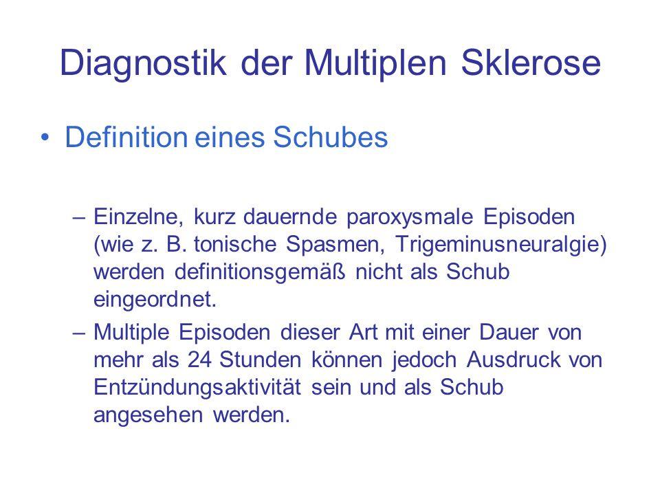 Diagnostik der Multiplen Sklerose Definition eines Schubes –Einzelne, kurz dauernde paroxysmale Episoden (wie z. B. tonische Spasmen, Trigeminusneural