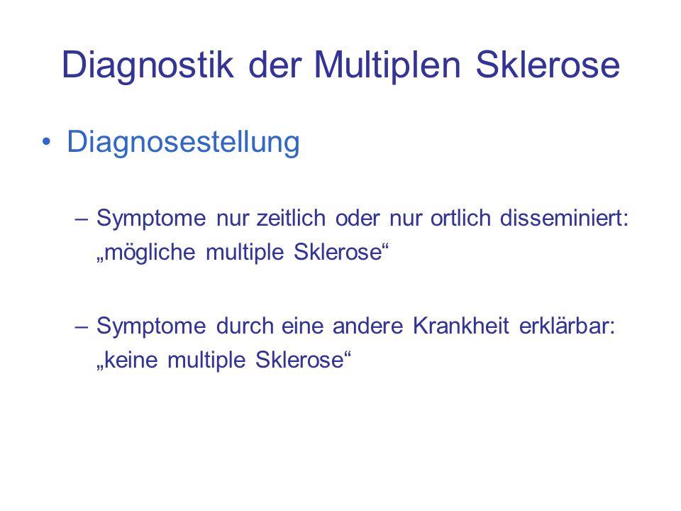 Diagnostik der Multiplen Sklerose Diagnosestellung –Symptome nur zeitlich oder nur ortlich disseminiert: mögliche multiple Sklerose –Symptome durch ei