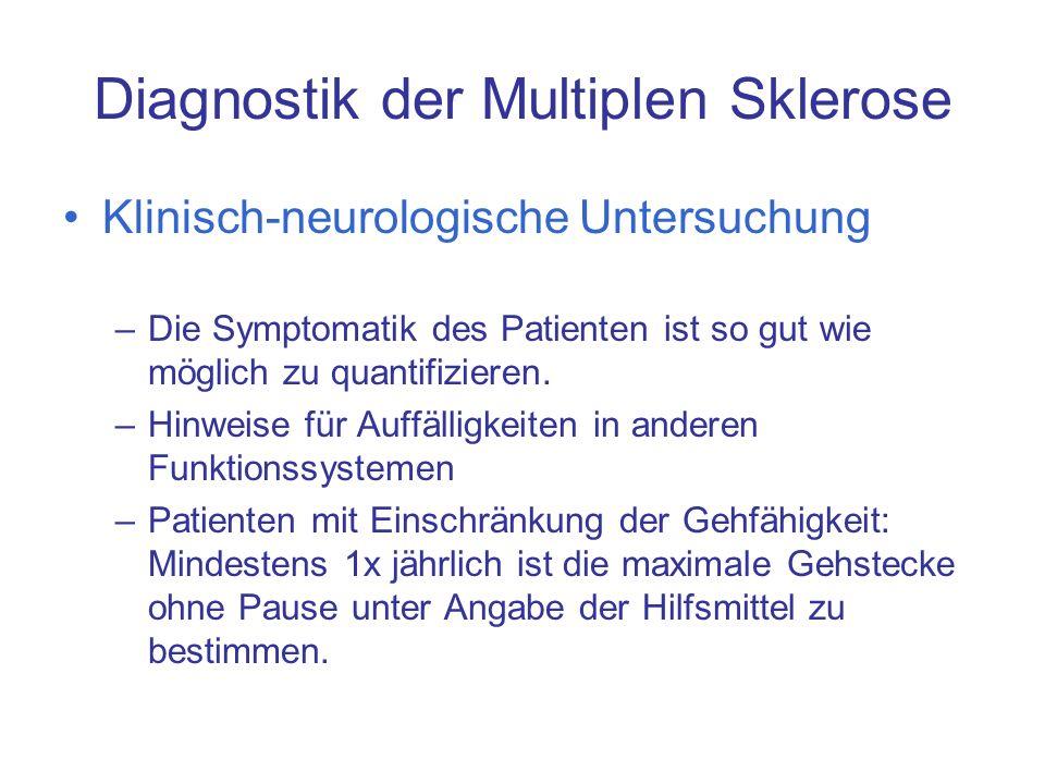 Diagnostik der Multiplen Sklerose Klinisch-neurologische Untersuchung –Die Symptomatik des Patienten ist so gut wie möglich zu quantifizieren. –Hinwei