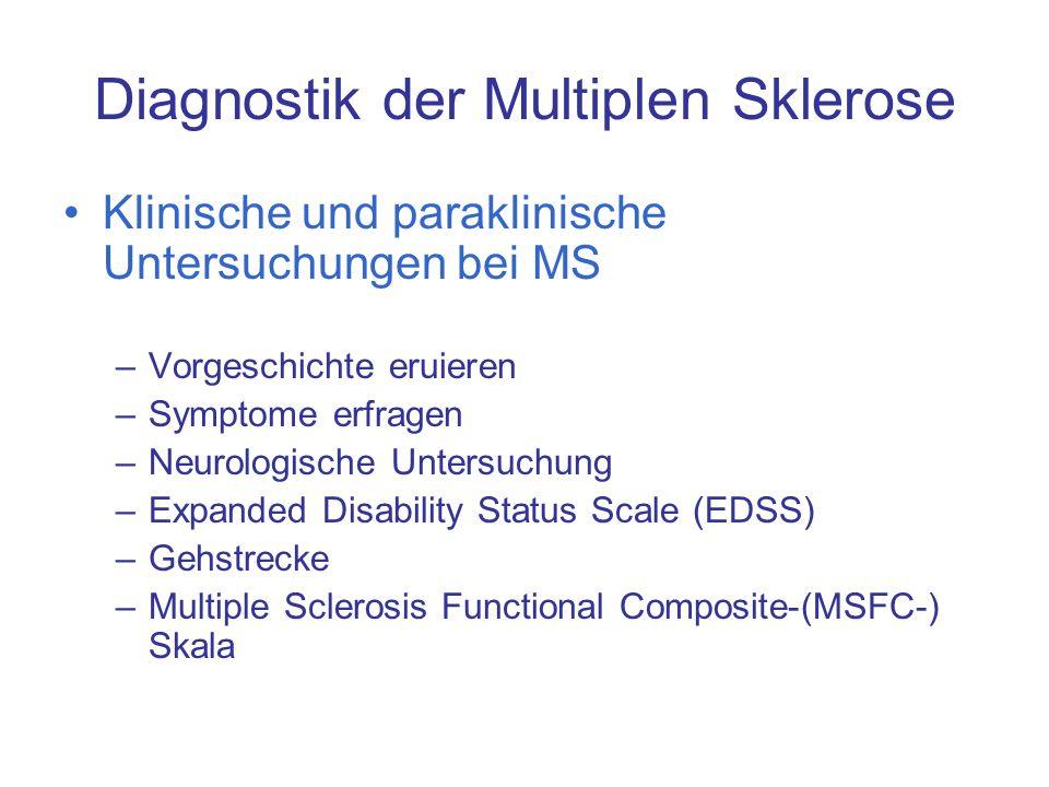 Diagnostik der Multiplen Sklerose Klinische und paraklinische Untersuchungen bei MS –Vorgeschichte eruieren –Symptome erfragen –Neurologische Untersuc