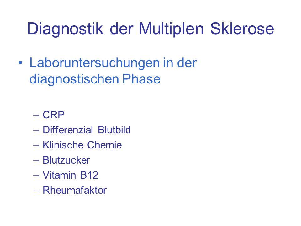 Diagnostik der Multiplen Sklerose Laboruntersuchungen in der diagnostischen Phase –CRP –Differenzial Blutbild –Klinische Chemie –Blutzucker –Vitamin B