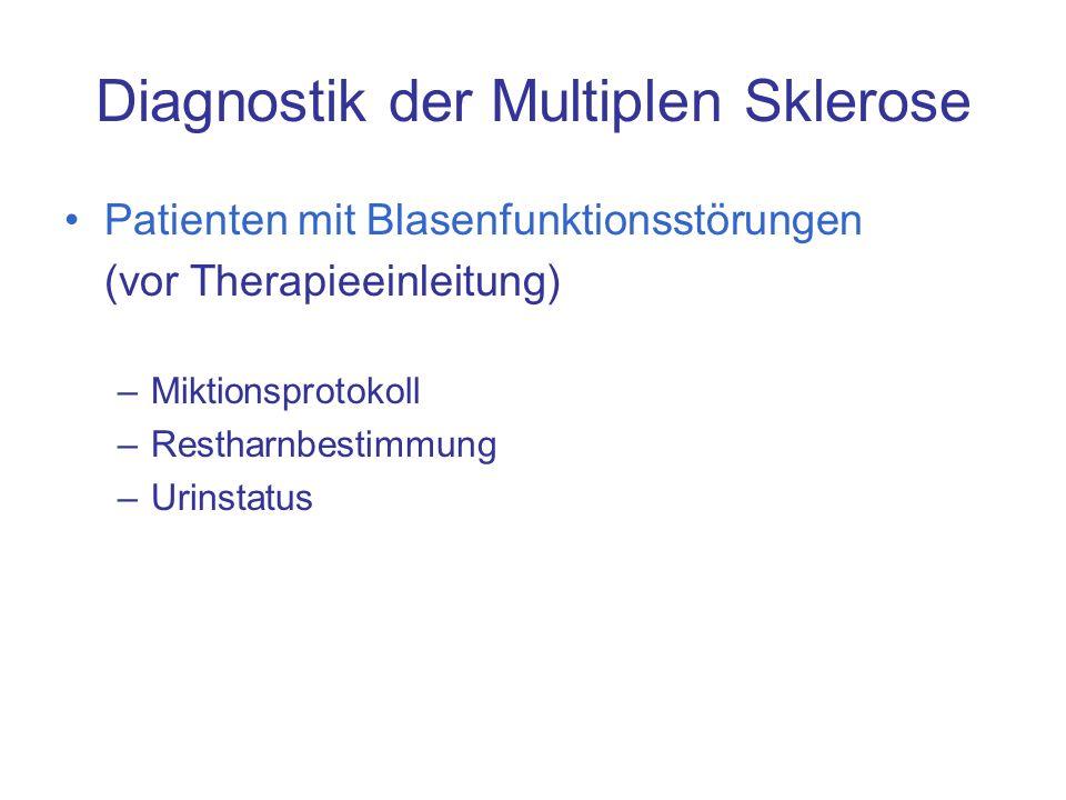 Diagnostik der Multiplen Sklerose Patienten mit Blasenfunktionsstörungen (vor Therapieeinleitung) –Miktionsprotokoll –Restharnbestimmung –Urinstatus