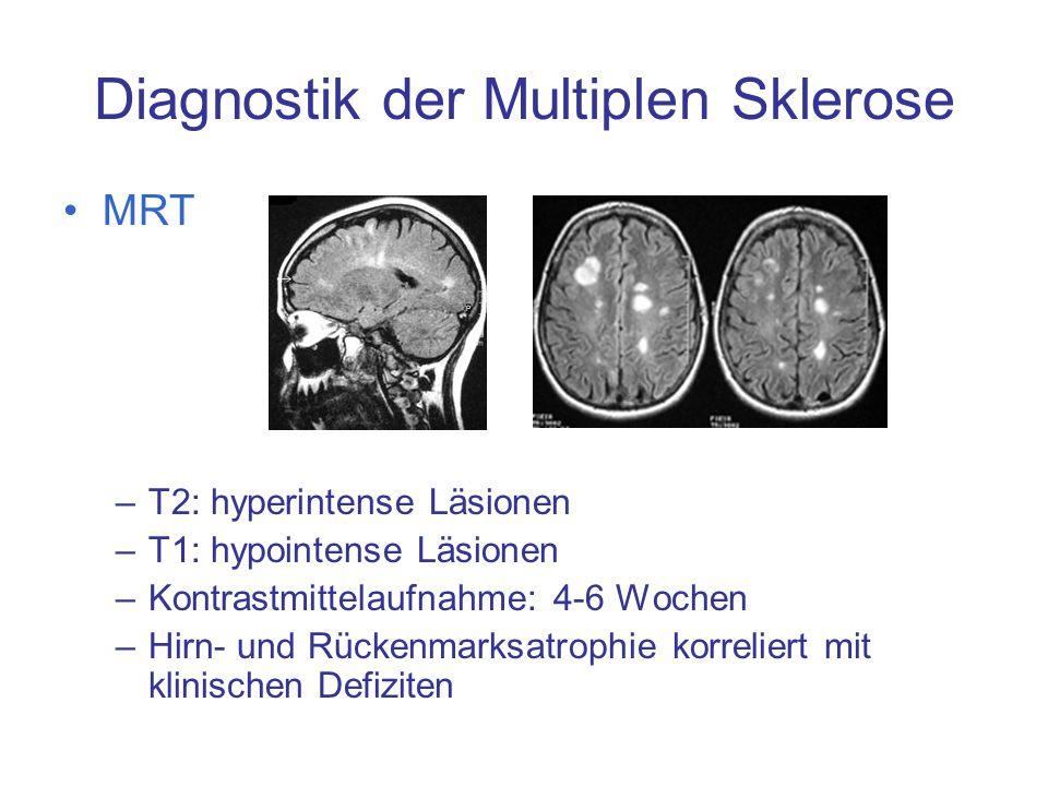 Diagnostik der Multiplen Sklerose MRT –T2: hyperintense Läsionen –T1: hypointense Läsionen –Kontrastmittelaufnahme: 4-6 Wochen –Hirn- und Rückenmarksa