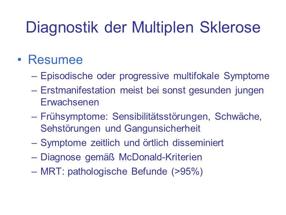 Resumee –Episodische oder progressive multifokale Symptome –Erstmanifestation meist bei sonst gesunden jungen Erwachsenen –Frühsymptome: Sensibilitäts