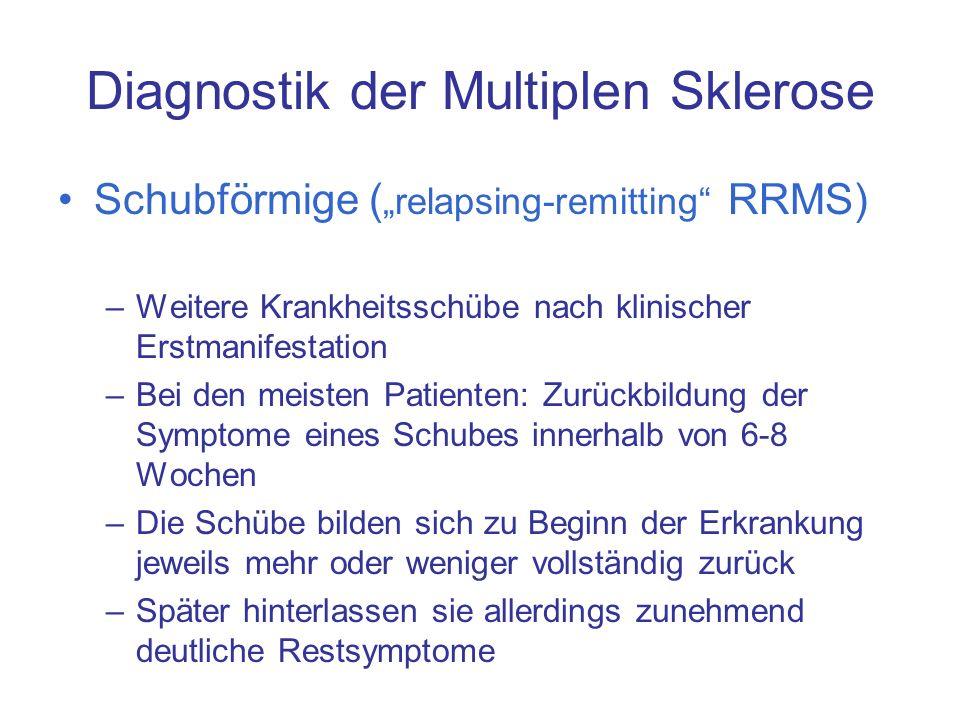 Diagnostik der Multiplen Sklerose Schubförmige ( relapsing-remitting RRMS) –Weitere Krankheitsschübe nach klinischer Erstmanifestation –Bei den meiste