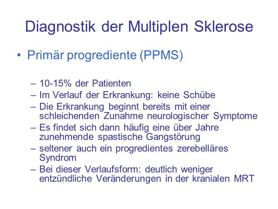 Diagnostik der Multiplen Sklerose Primär progrediente (PPMS) –10-15% der Patienten –Im Verlauf der Erkrankung: keine Schübe –Die Erkrankung beginnt be