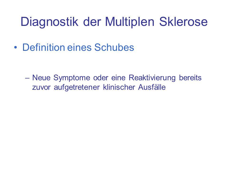 Diagnostik der Multiplen Sklerose Definition eines Schubes –Neue Symptome oder eine Reaktivierung bereits zuvor aufgetretener klinischer Ausfälle