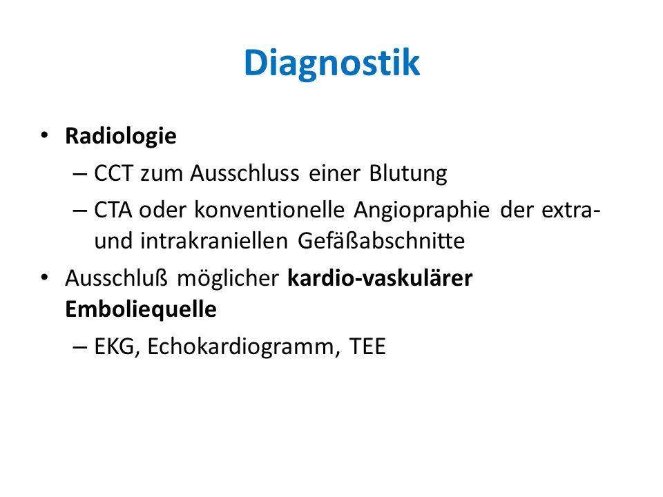 Diagnostik Radiologie – CCT zum Ausschluss einer Blutung – CTA oder konventionelle Angiopraphie der extra- und intrakraniellen Gefäßabschnitte Ausschl