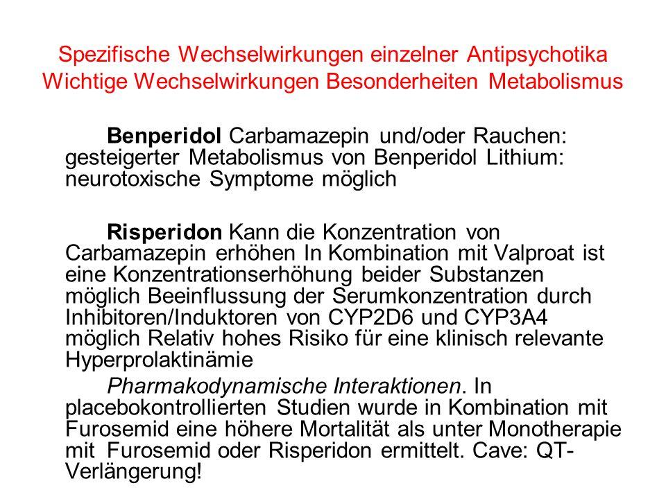 Spezifische Wechselwirkungen einzelner Antipsychotika Wichtige Wechselwirkungen Besonderheiten Metabolismus Benperidol Carbamazepin und/oder Rauchen: