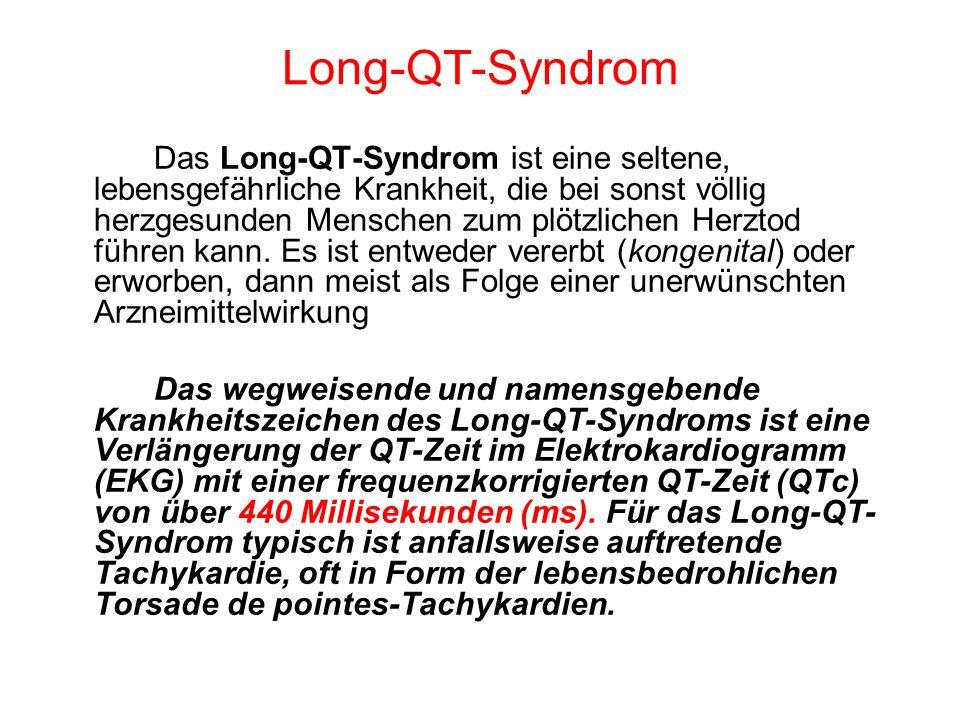 Das Long-QT-Syndrom ist eine seltene, lebensgefährliche Krankheit, die bei sonst völlig herzgesunden Menschen zum plötzlichen Herztod führen kann. Es