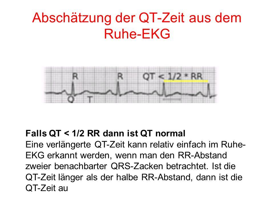 Abschätzung der QT-Zeit aus dem Ruhe-EKG Falls QT < 1/2 RR dann ist QT normal Eine verlängerte QT-Zeit kann relativ einfach im Ruhe- EKG erkannt werde