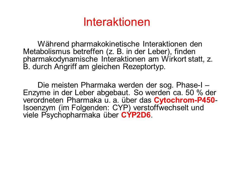 Interaktionen Während pharmakokinetische Interaktionen den Metabolismus betreffen (z. B. in der Leber), finden pharmakodynamische Interaktionen am Wir