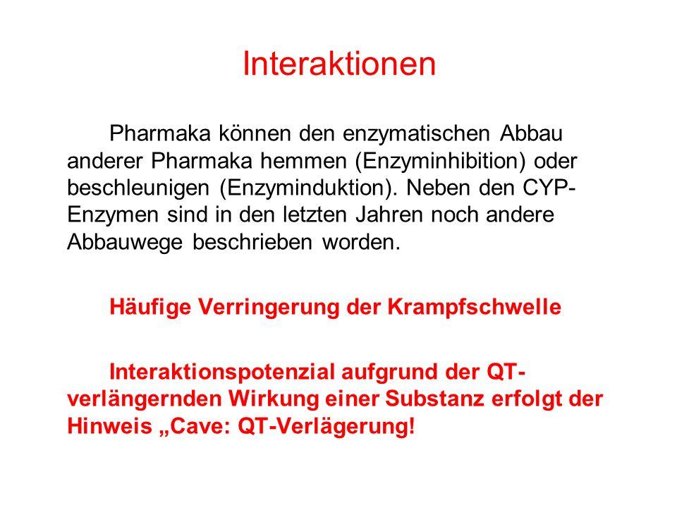 Interaktionen Pharmaka können den enzymatischen Abbau anderer Pharmaka hemmen (Enzyminhibition) oder beschleunigen (Enzyminduktion). Neben den CYP- En
