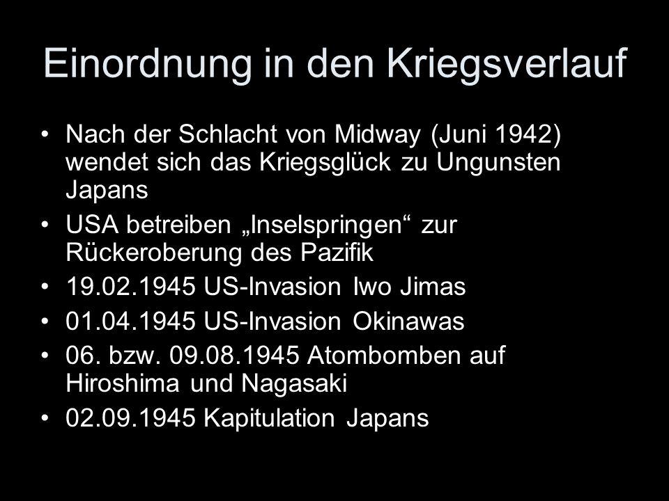 Nach der Schlacht von Midway (Juni 1942) wendet sich das Kriegsglück zu Ungunsten Japans USA betreiben Inselspringen zur Rückeroberung des Pazifik 19.
