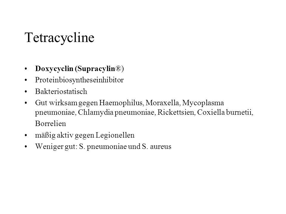 Tetracycline Doxycyclin (Supracylin®) Proteinbiosyntheseinhibitor Bakteriostatisch Gut wirksam gegen Haemophilus, Moraxella, Mycoplasma pneumoniae, Ch