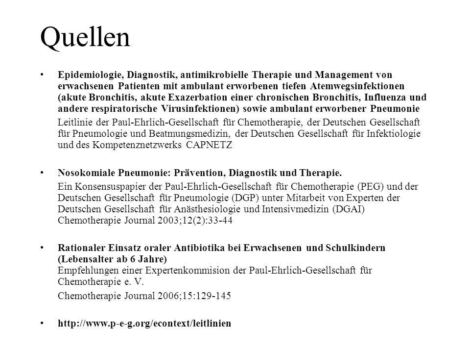 Quellen Epidemiologie, Diagnostik, antimikrobielle Therapie und Management von erwachsenen Patienten mit ambulant erworbenen tiefen Atemwegsinfektione