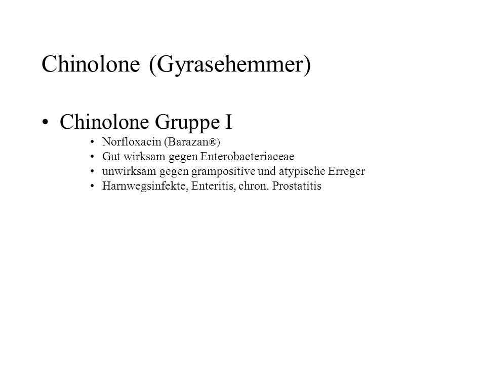 Chinolone (Gyrasehemmer) Chinolone Gruppe I Norfloxacin (Barazan ®) Gut wirksam gegen Enterobacteriaceae unwirksam gegen grampositive und atypische Er