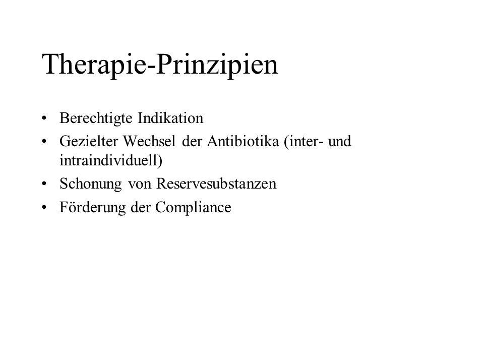 Therapie-Prinzipien Berechtigte Indikation Gezielter Wechsel der Antibiotika (inter- und intraindividuell) Schonung von Reservesubstanzen Förderung de