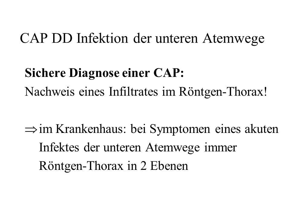CAP DD Infektion der unteren Atemwege Sichere Diagnose einer CAP: Nachweis eines Infiltrates im Röntgen-Thorax! im Krankenhaus: bei Symptomen eines ak