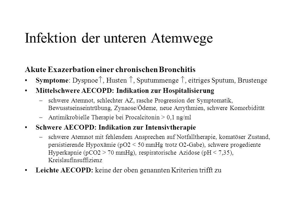 Infektion der unteren Atemwege Akute Exazerbation einer chronischen Bronchitis Symptome: Dyspnoe, Husten, Sputummenge, eitriges Sputum, Brustenge Mitt