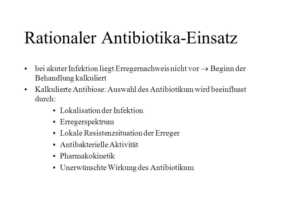 Rationaler Antibiotika-Einsatz bei akuter Infektion liegt Erregernachweis nicht vor Beginn der Behandlung kalkuliert Kalkulierte Antibiose: Auswahl de