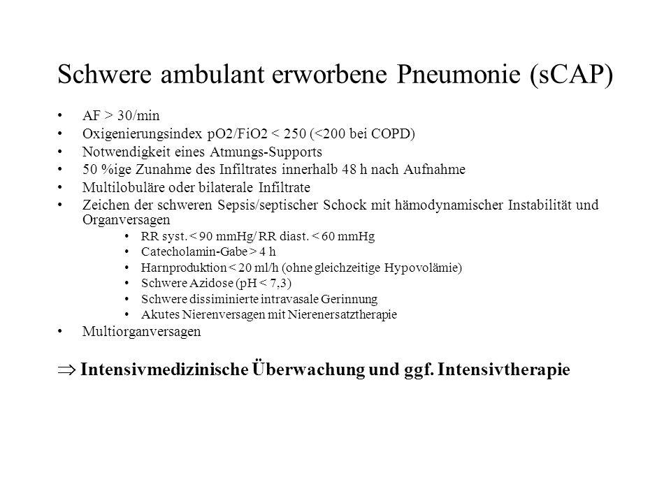 Schwere ambulant erworbene Pneumonie (sCAP) AF > 30/min Oxigenierungsindex pO2/FiO2 < 250 (<200 bei COPD) Notwendigkeit eines Atmungs-Supports 50 %ige