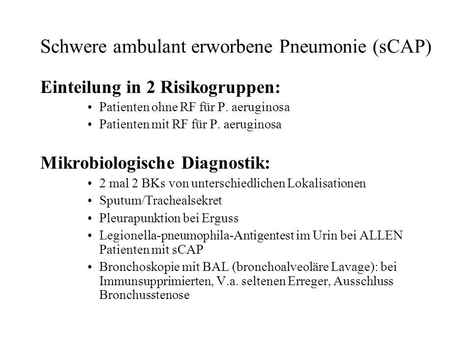 Schwere ambulant erworbene Pneumonie (sCAP) Einteilung in 2 Risikogruppen: Patienten ohne RF für P. aeruginosa Patienten mit RF für P. aeruginosa Mikr