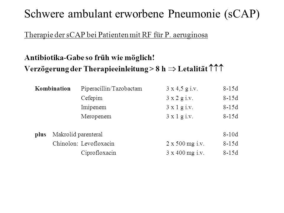Schwere ambulant erworbene Pneumonie (sCAP) Therapie der sCAP bei Patienten mit RF für P. aeruginosa Antibiotika-Gabe so früh wie möglich! Verzögerung