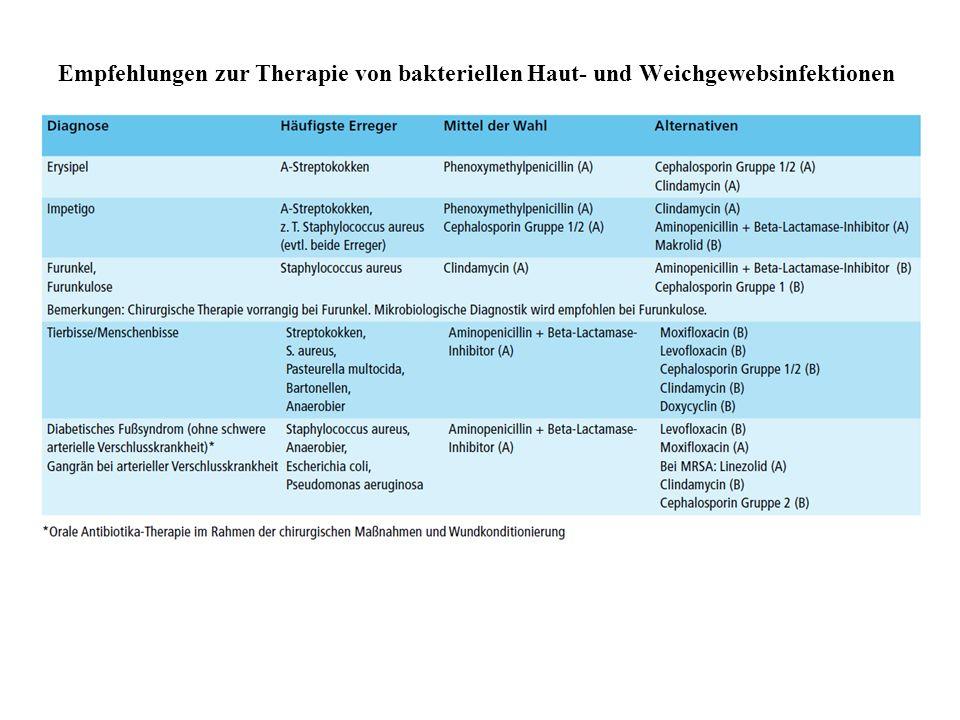 Empfehlungen zur Therapie von bakteriellen Haut- und Weichgewebsinfektionen