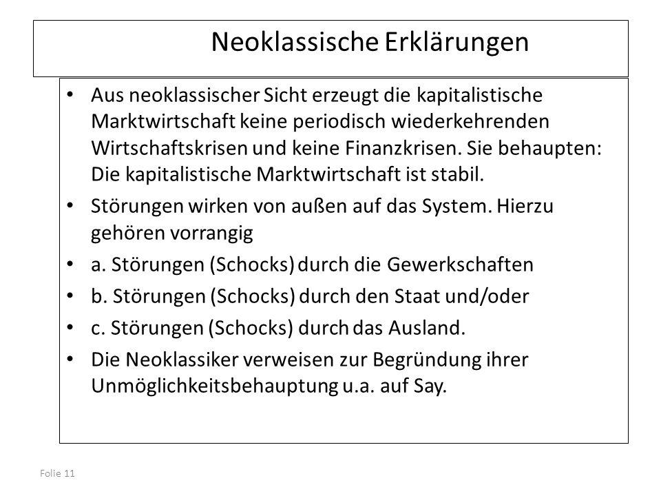 Folie 11 Neoklassische Erklärungen Aus neoklassischer Sicht erzeugt die kapitalistische Marktwirtschaft keine periodisch wiederkehrenden Wirtschaftskr