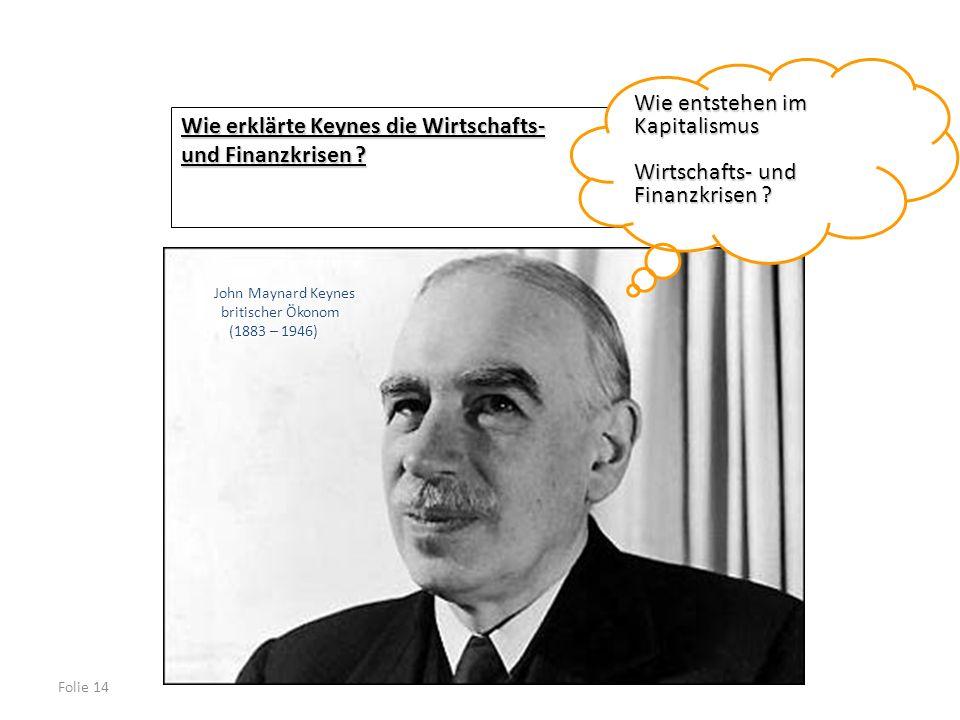 Folie 14 Wie erklärte Keynes die Wirtschafts- und Finanzkrisen ? Wie entstehen im Kapitalismus Wirtschafts- und Finanzkrisen ? John Maynard Keynes bri