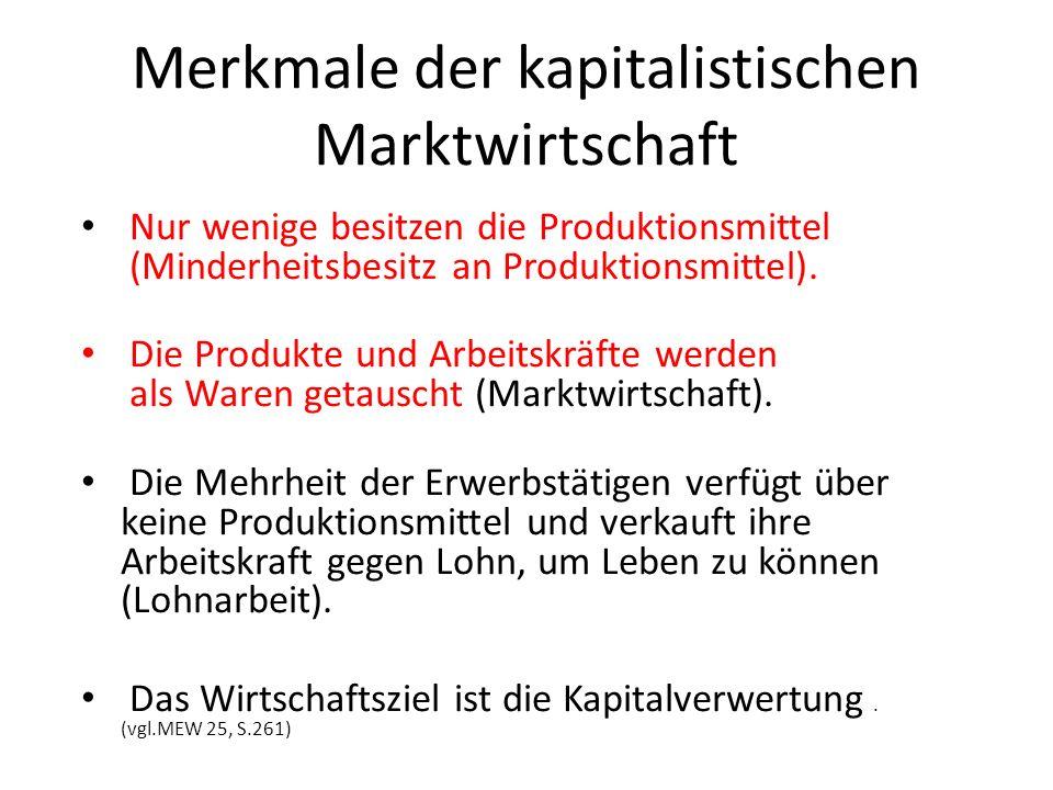 Merkmale der kapitalistischen Marktwirtschaft Nur wenige besitzen die Produktionsmittel (Minderheitsbesitz an Produktionsmittel). Die Produkte und Arb