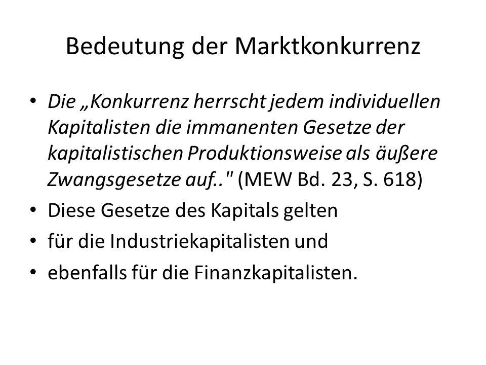 Bedeutung der Marktkonkurrenz Die Konkurrenz herrscht jedem individuellen Kapitalisten die immanenten Gesetze der kapitalistischen Produktionsweise al