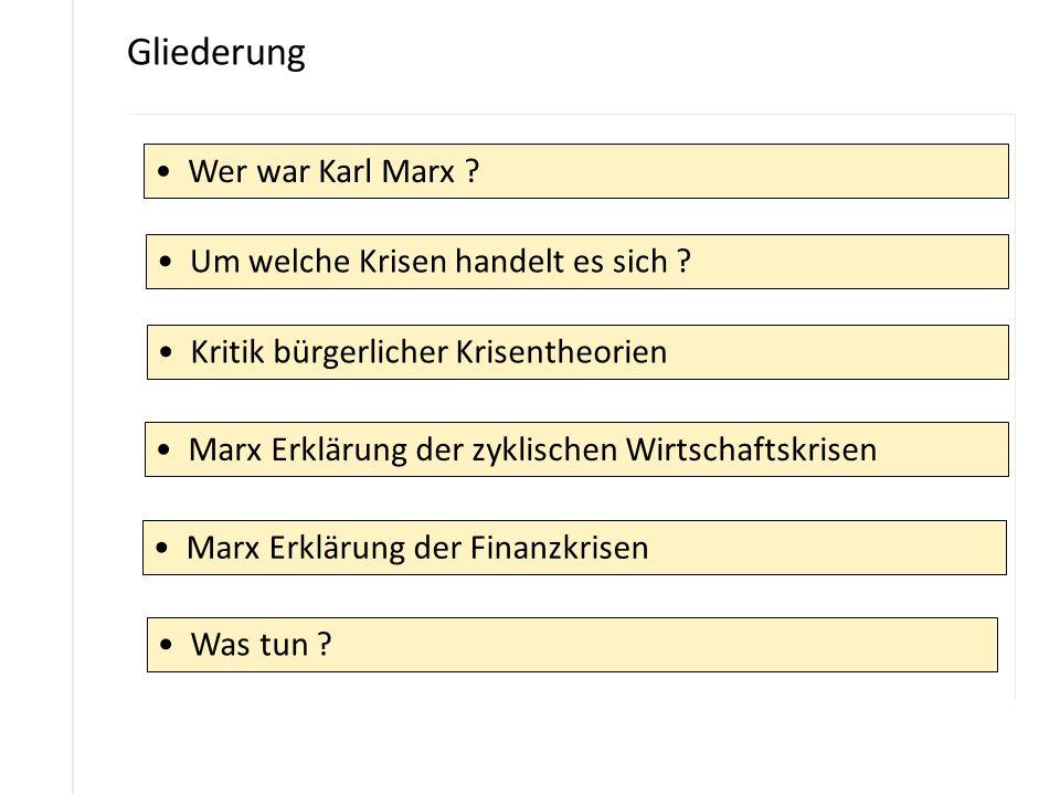 Gliederung Wer war Karl Marx ? Um welche Krisen handelt es sich ? Kritik bürgerlicher Krisentheorien Marx Erklärung der zyklischen Wirtschaftskrisen M