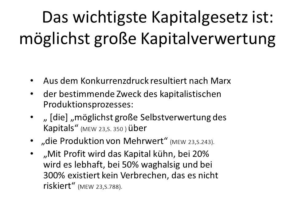 Das wichtigste Kapitalgesetz ist: möglichst große Kapitalverwertung Aus dem Konkurrenzdruck resultiert nach Marx der bestimmende Zweck des kapitalisti