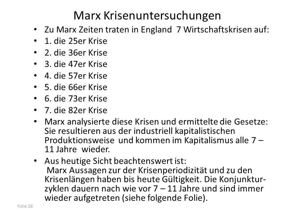 Folie 26 Marx Krisenuntersuchungen Zu Marx Zeiten traten in England 7 Wirtschaftskrisen auf: 1. die 25er Krise 2. die 36er Krise 3. die 47er Krise 4.