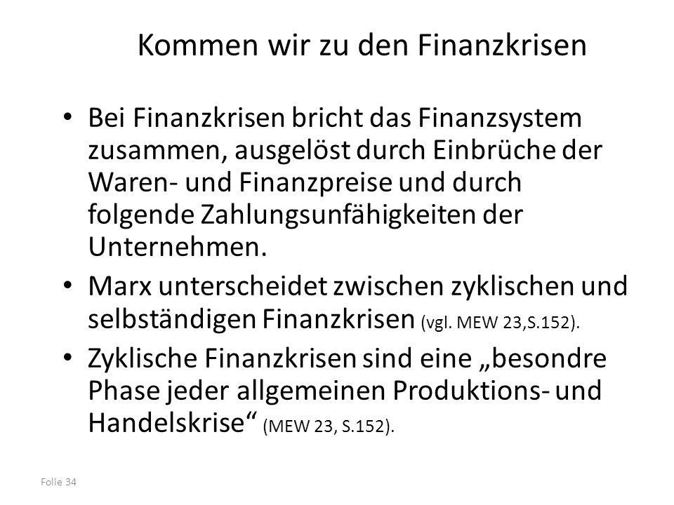 Folie 34 Kommen wir zu den Finanzkrisen Bei Finanzkrisen bricht das Finanzsystem zusammen, ausgelöst durch Einbrüche der Waren- und Finanzpreise und d