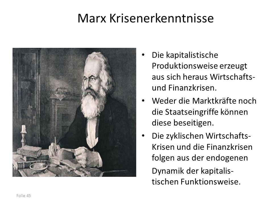 Folie 45 Marx Krisenerkenntnisse Die kapitalistische Produktionsweise erzeugt aus sich heraus Wirtschafts- und Finanzkrisen. Weder die Marktkräfte noc
