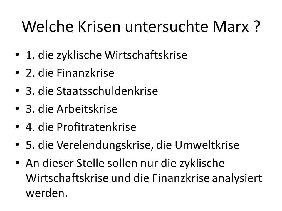 Marx (MEW 26.2/515) : Tritt eine Krise ein, weil Kauf und Verkauf auseinanderfallen, so entwickelt sie sich als Geldkrise: Erlöse, Gewinne und Kurse brechen ein, Zahlungsmittel fehlen, Unternehmen können Kredite nicht zurückzahlen, Unternehmen erhalten keine Kredite mehr, Banken gehen Pleite.
